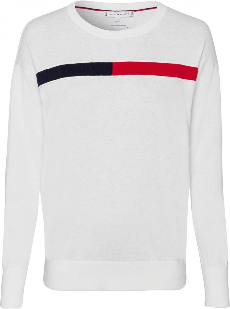 Tommy Hilfiger kereknyakú pulóver Tommy Hilfiger gyapjúfehér-piros-tengerészkék  - normál méret XL ( 6a846a2a71