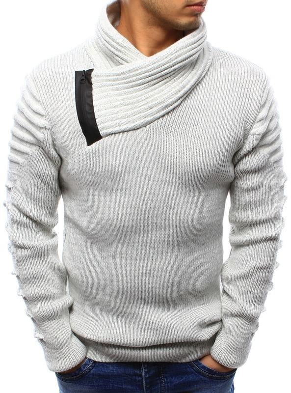 Dstreet Fehér kötött pulóver érdekes nyakmegoldással - Styledit.hu 445aa276c2