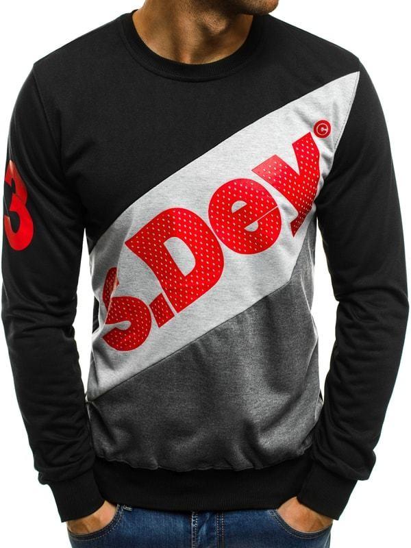 Divatos feliratos fekete pulóver OZONEE JS TT98 - Styledit.hu d877742b42