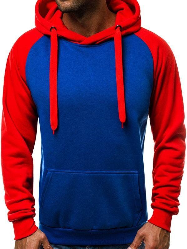 Két színű piros kapucnis pulóver OZONEE JS TR12 - Styledit.hu 607ca44690