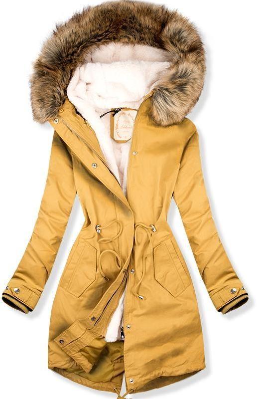 8f9662f2a7 Parka kabát meleg, plüss béléssel - mustársárga színű - Styledit.hu