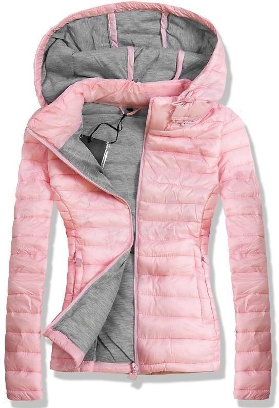 Rózsaszínű steppelt kapucnis dzseki