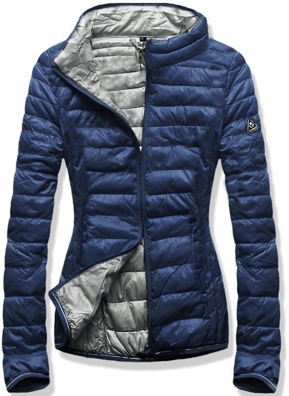 Kék és szürke színű tavaszi steppelt dzseki