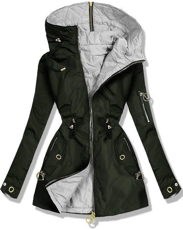 Kheki és szürke színű kifordítható parka kabát - Styledit.hu e9f5649887