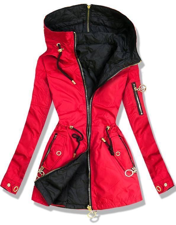 f20578c143 Piros és fekete színű kifordítható parka kabát - Styledit.hu