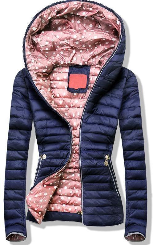 Kék színű steppelt dzseki, pöttyös béléssel