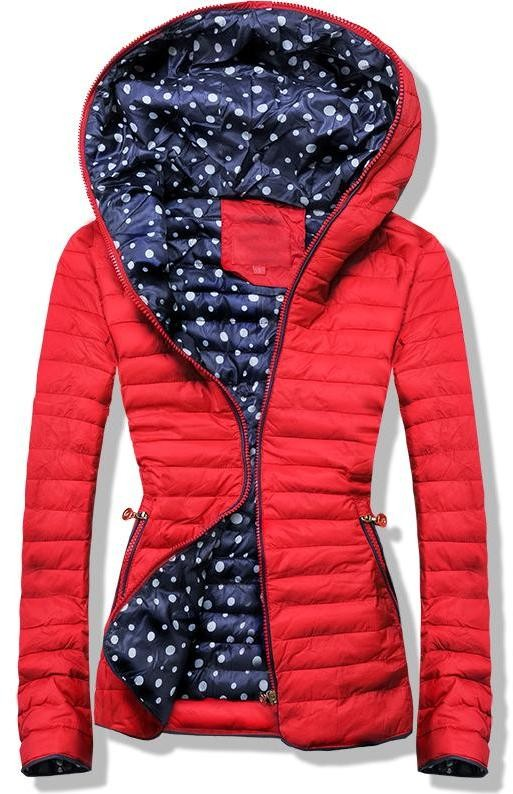 e2cd0e1b47 Piros színű steppelt dzseki, pöttyös béléssel - Styledit.hu