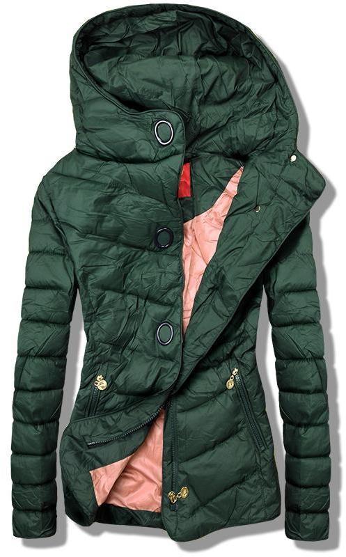 Zöld színű könnyű tavaszi steppelt dzseki