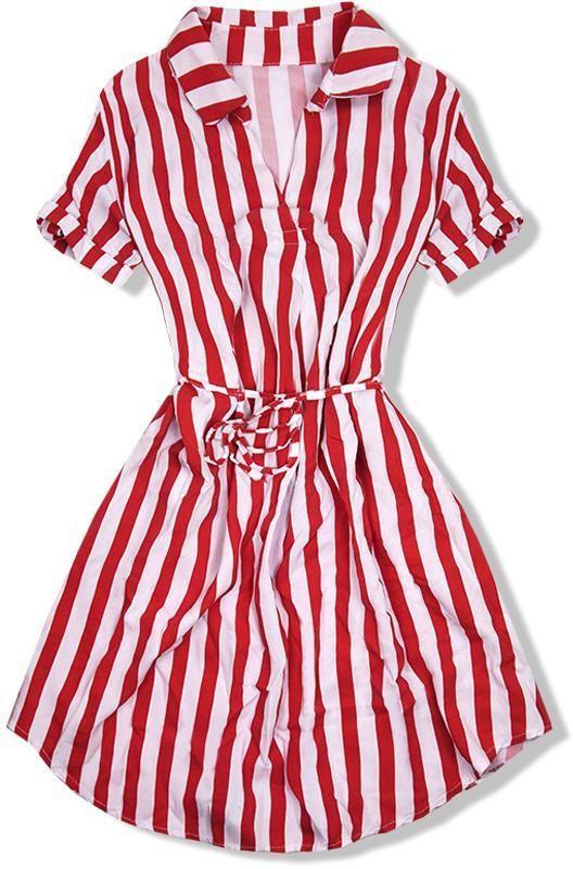 Piros és fehér színű csíkos ruha - Styledit.hu 5f6e059e31