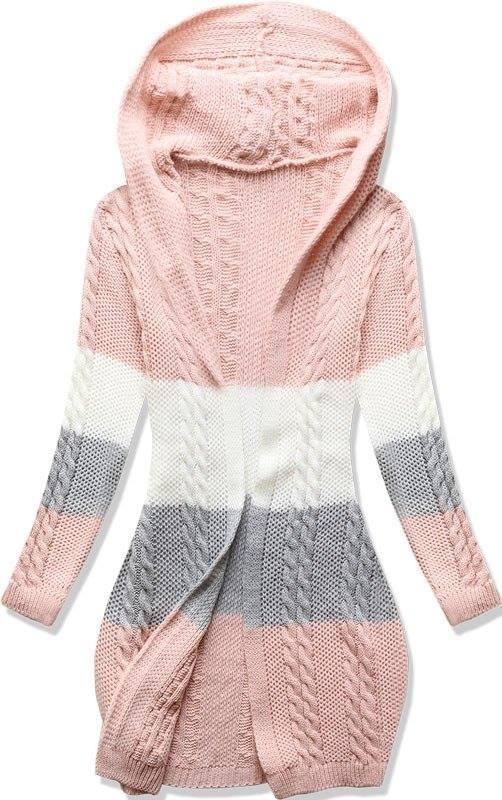 Rózsaszínű kötött kapucnis kardigán