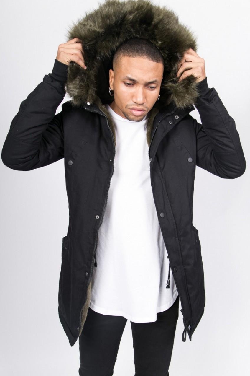 Sixth June Sixth June férfi kabát szőrmés kapucnival fekete