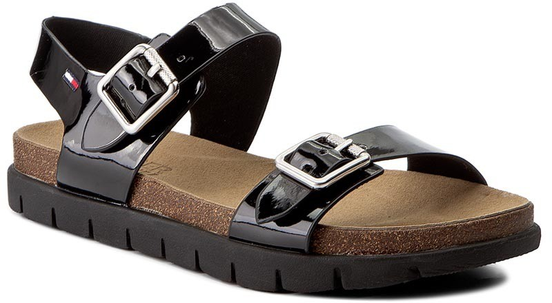 f057c85ff2 Szandál TOMMY HILFIGER - DENIM Slide Sandal 3Z FW0FW00634 Black 990