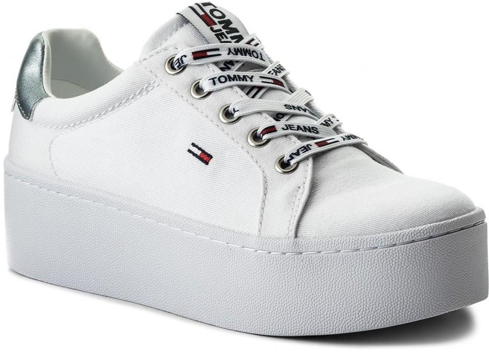 15846a000e Sportcipő TOMMY HILFIGER - JEANS Tommy Jeans Flatform Sneaker EN0EN00237 White  100
