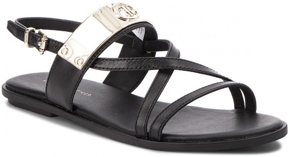 dc04aaee96 Szandál TOMMY HILFIGER - Flat Sandal With Th Bar FW0FW02237 Black 990