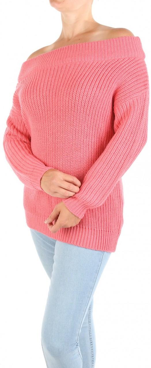 New Look Női rózsaszín pulóver a vállán Új megjelenés - Styledit.hu 85b7df24f8