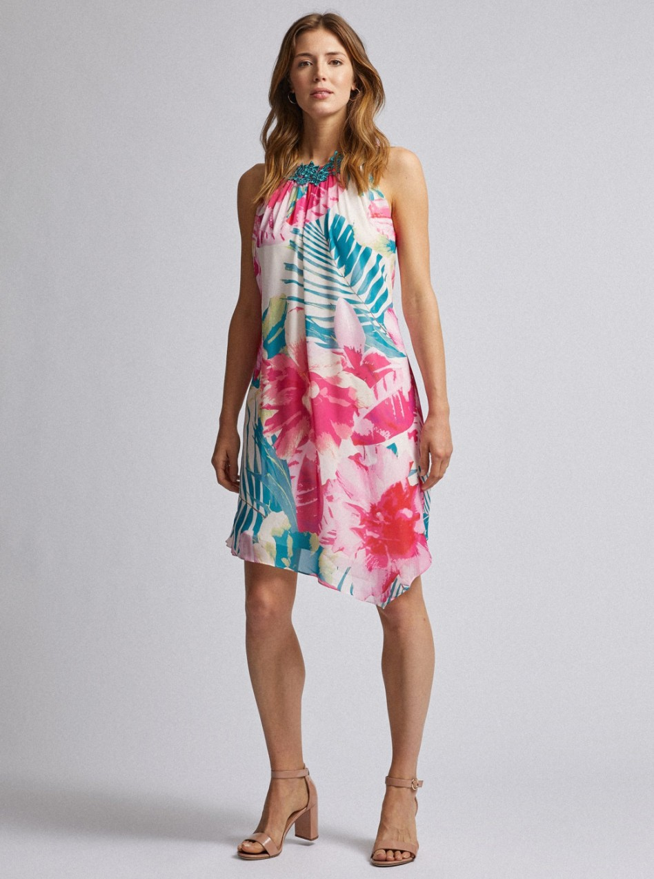 Green-pink floral asymmetrical dorothy perkins dress