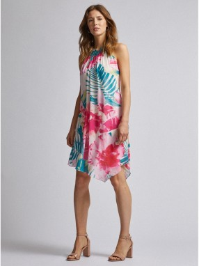 Green-pink floral asymmetrical dorothy perkins dress galéria