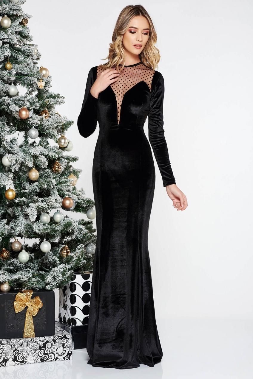 b57d42a72e Ocassion Fekete alkalmi hosszú bársony ruha szirén tipusú hosszú ...