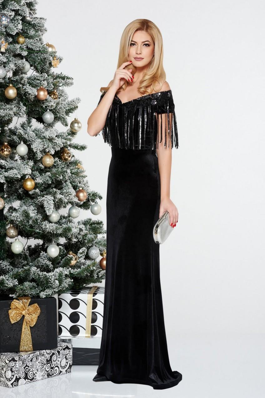 dab510842b StarShinerS Fekete StarShinerS alkalmi szirén tipusú bársony ruha ...
