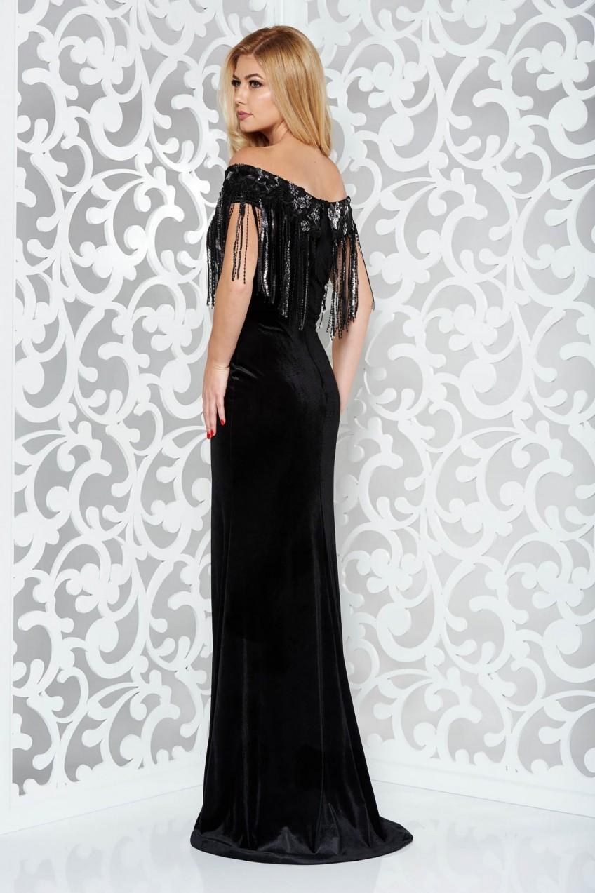 711b0ab3ce Fekete StarShinerS alkalmi szirén tipusú bársony ruha flitterekkel. 1