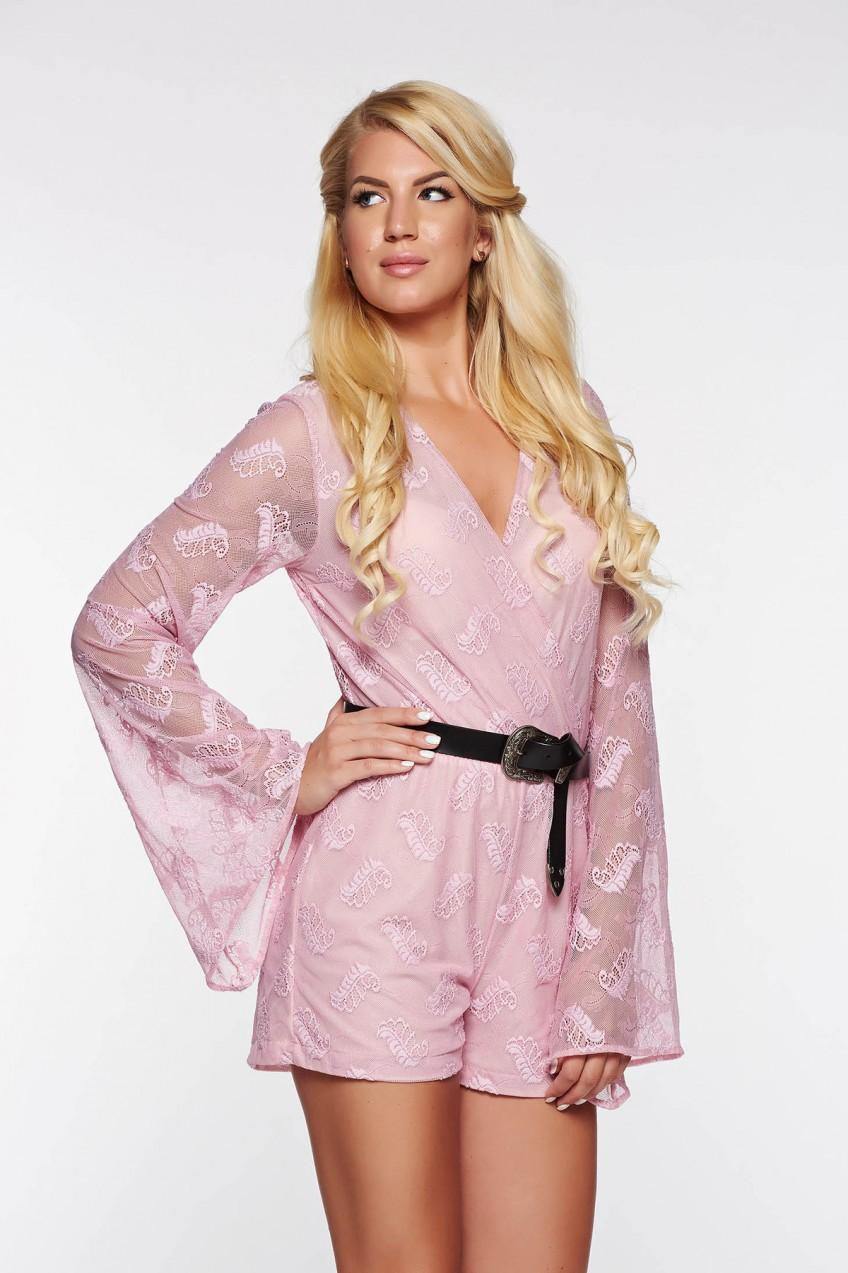 2c71f5a977 StarShinerS casual rózsaszínű overál rugalmas és finom anyag belső béléssel  derékban rugalmas