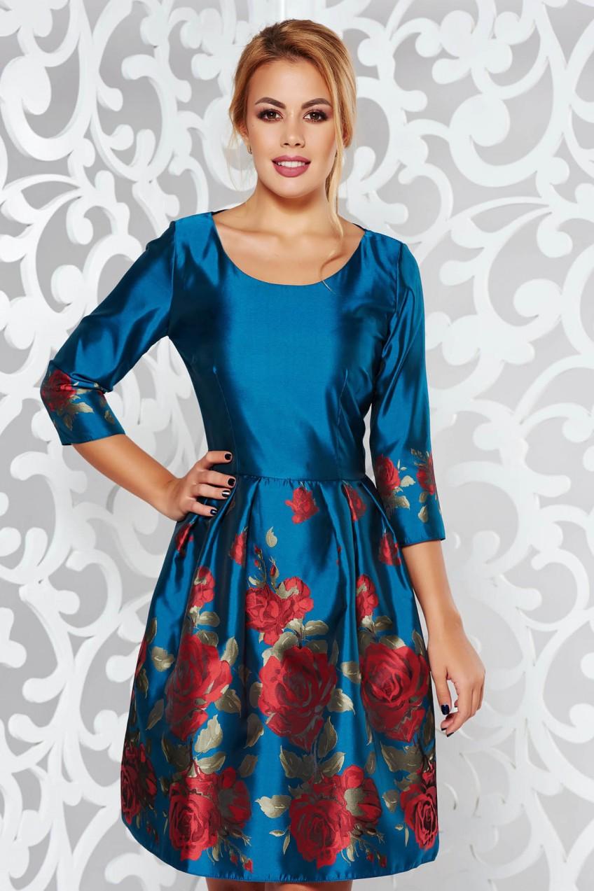 890b7912c5 Türkiz PrettyGirl alkalmi harang ruha fényes anyag virágmintás díszítéssel
