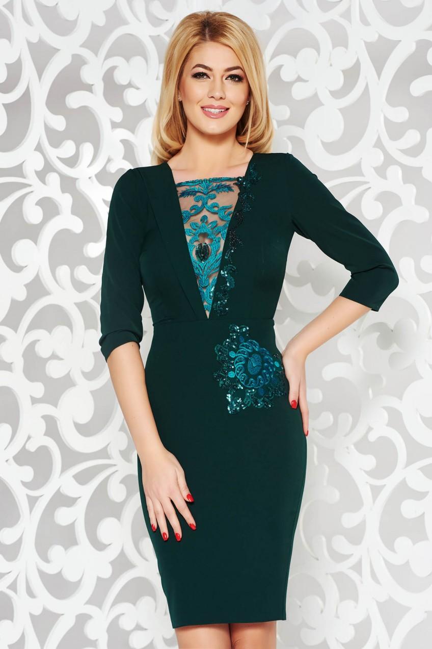 Zöld alkalmi ceruza ruha enyhén elasztikus szövet belső béléssel csipkés és  flitteres díszítés 5f975e0474