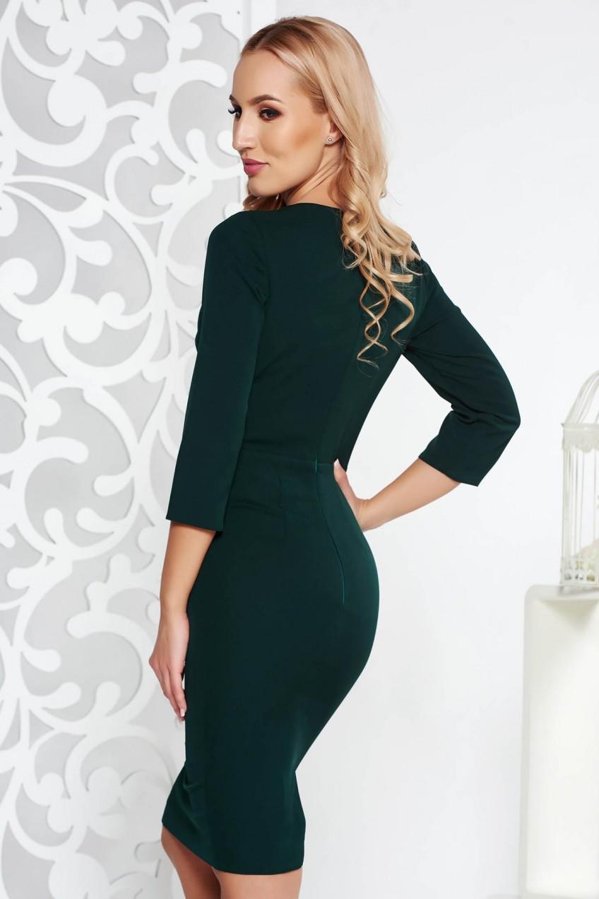 77dce8eee5 Zöld alkalmi ceruza ruha enyhén elasztikus szövet belső béléssel csipkés és flitteres  díszítés. 1