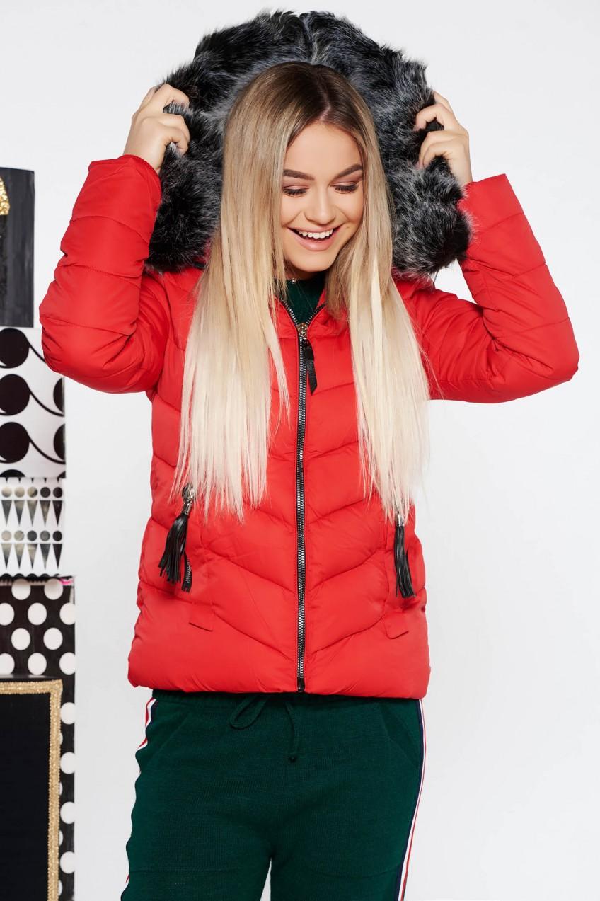 7c6023a493 SunShine Piros SunShine dzseki vízhatlan belső béléssel rövid zsebes ...