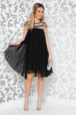 ... Fekete StarShinerS alkalmi ruha fátyol belső béléssel bő szabás  flitteres díszítés galéria 534854eaef