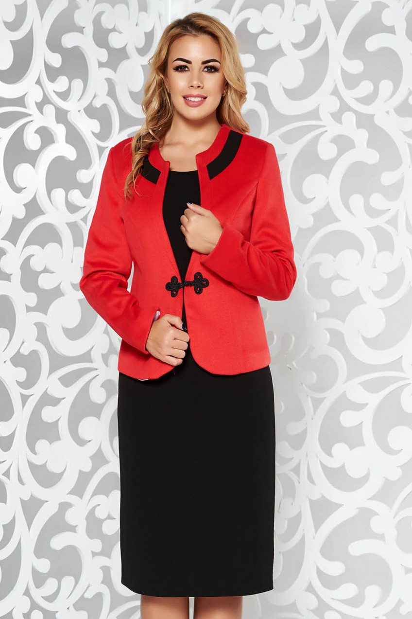 Piros irodai női kosztüm vastag anyag - Styledit.hu c62bb1a7c3