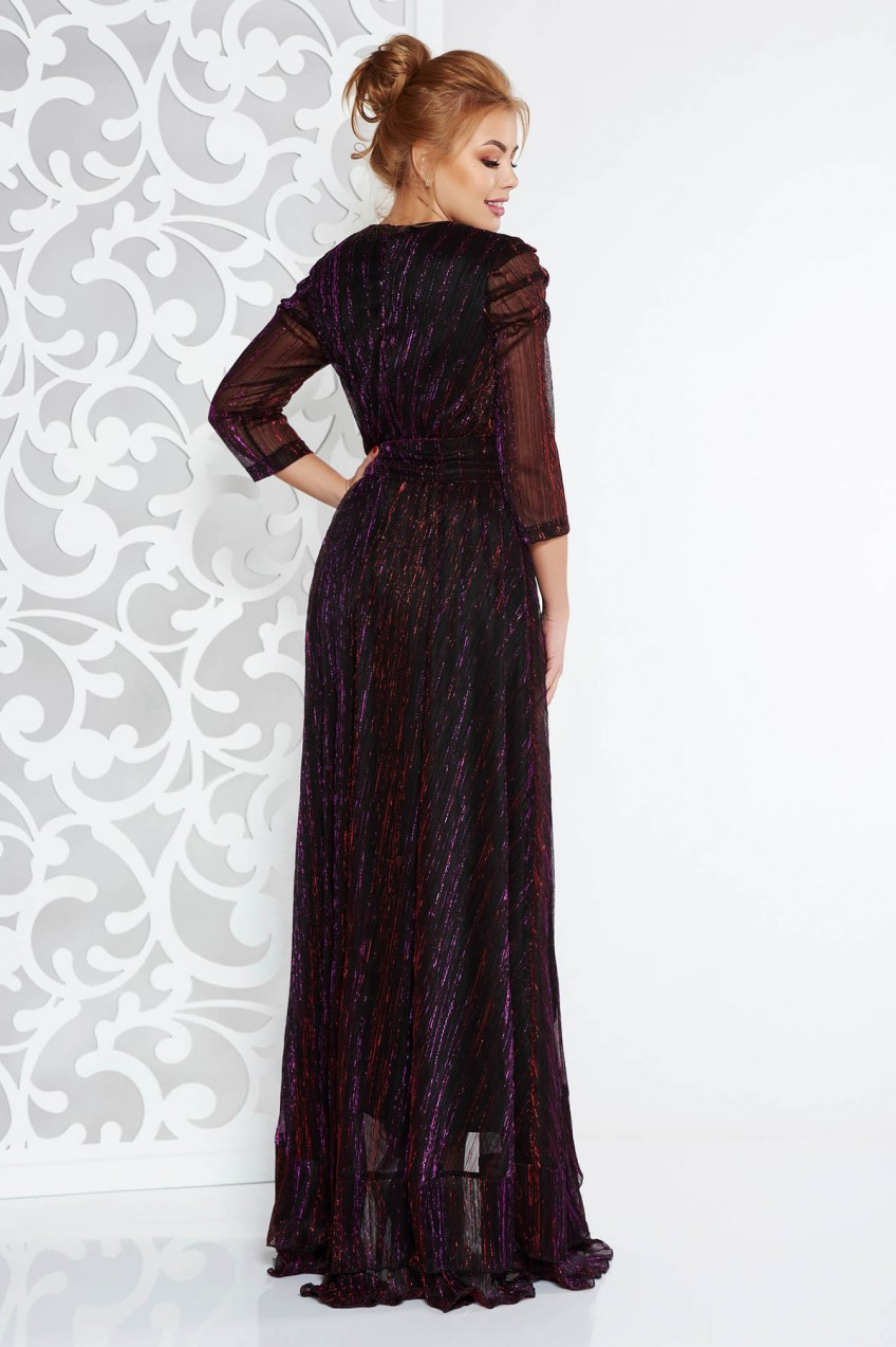 0d7f174144 Lila Artista alkalmi ruha fényes anyag lamé szál belső béléssel övvel  ellátva. 1