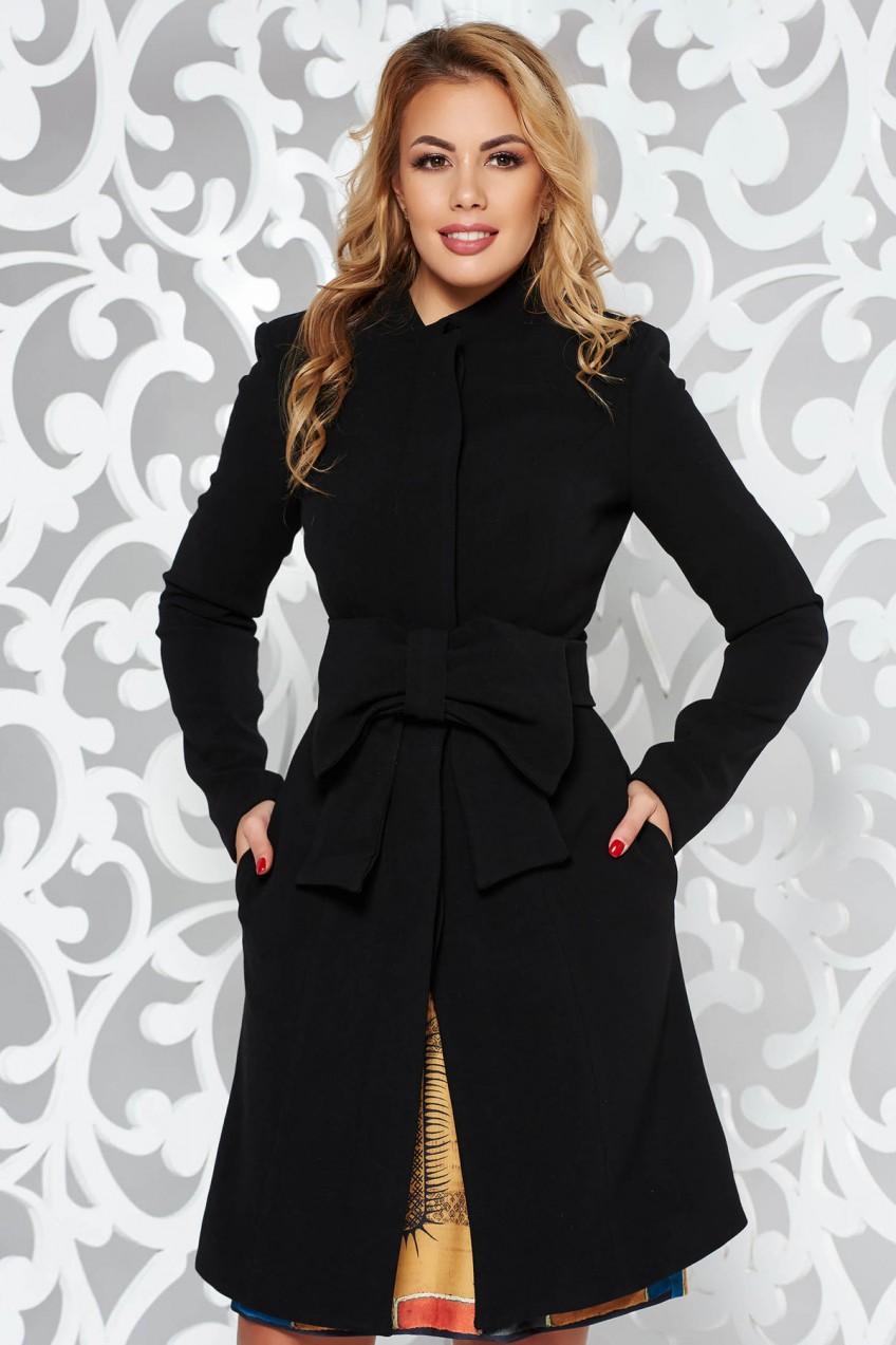 6008ca9f64 Fekete Artista elegáns harang kabát belső béléssel övvel ellátva masni  alakú kiegészítővel