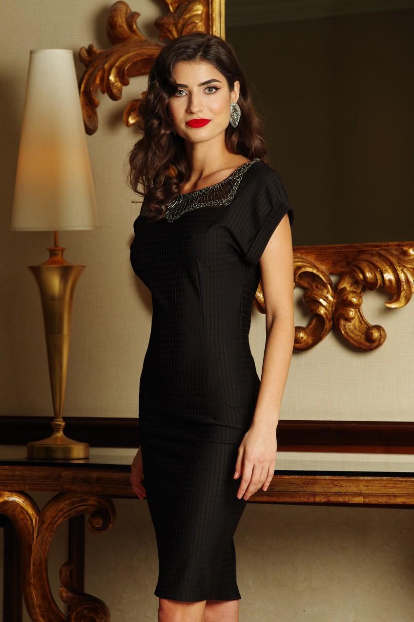 Fekete Artista alkalmi midi ruha enyhén rugalmas anyag gyöngyös díszítés 8cb03395cf