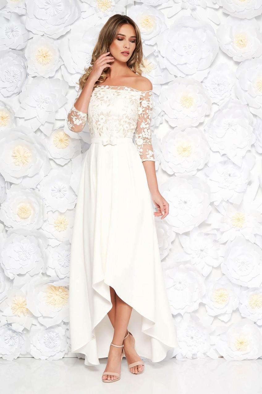 e17c4d2b97 Fehér StarShinerS ruha alkalmi aszimetrikus váll nélküli pamutból készült  hímzett betétekkel