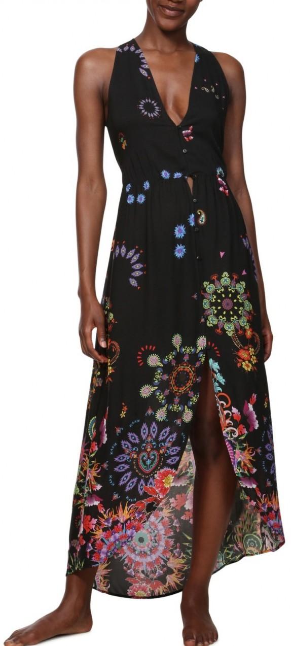 0be8215cf7 Desigual fekete ruha Vest Magda színes motívumokkal - S. 1. További Nyári  ruhák