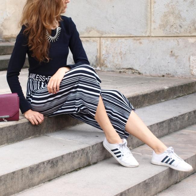 Fekete fehér culotte nadrág Styledit.hu